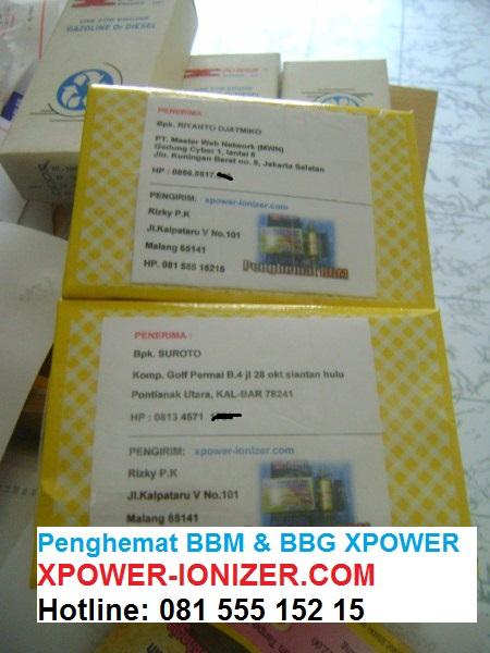 Pengiriman Penghemat BBM Xpower ke Jakarta Selatan Dan Pontianak Utara 21-02-2012