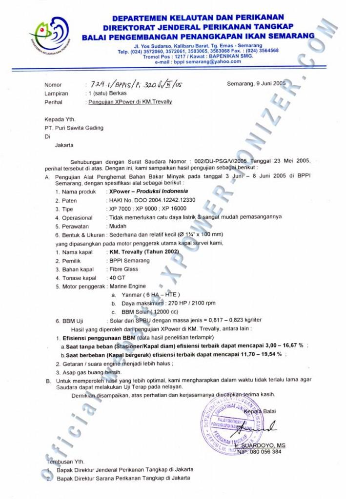Test Xpower untuk Mesin Diesel Kapal Laut oleh Departemen Kelautan dan Perikanan (DKP)- Semarang