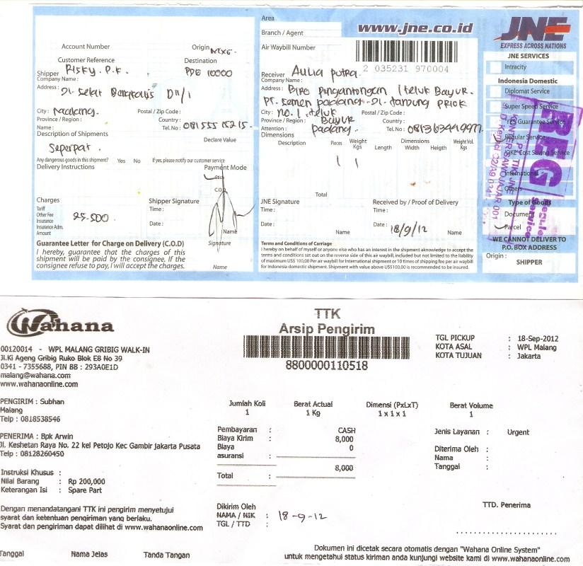 Resi Kiriman XPower penghemat BBM , 18 Sept 2012 [xpower-08155515215]