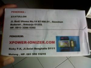 Pengiriman Xpower Tgl 5 Nopember 2012 lewat JNE ke Bpk AYATULLOH Jl. Budi Utomo No.14 RT/RW.01 , Sawohan Buduran , Sidoarjo